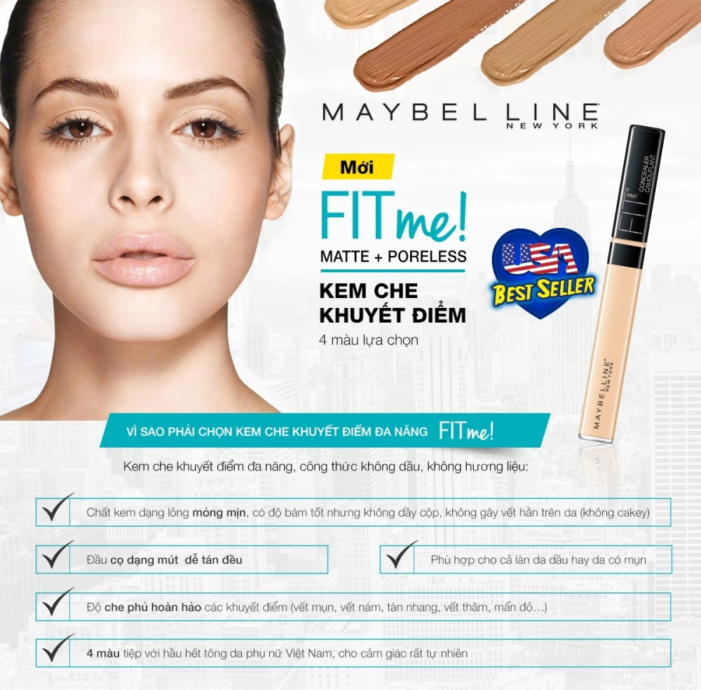 review chi tiết kem che khuyết điểm maybelline
